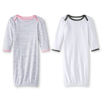 Circo™ Baby Girls' 2 Pack Stripe/Heart Nightgown - Pink NB