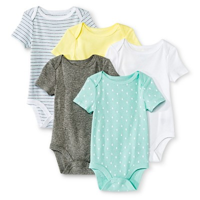 Circo™ Baby 5-Pack Bodysuit - White/Gray/Yellow 0-3 M