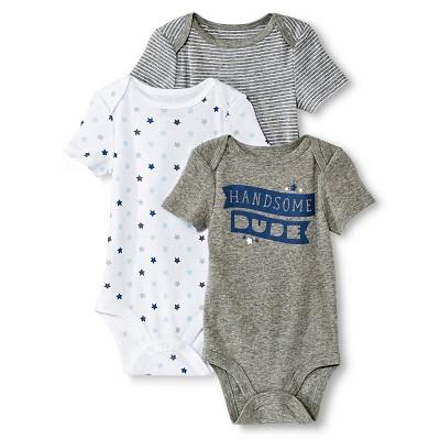 Circo™ Baby Boys' 3-Pack Handsome Dude Bodysuit - Gray 12 M