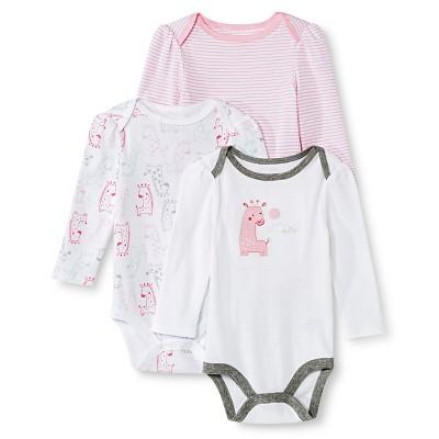 Circo™ Baby Girls' 3-Pack Giraffe Bodysuit - Pink 12 M