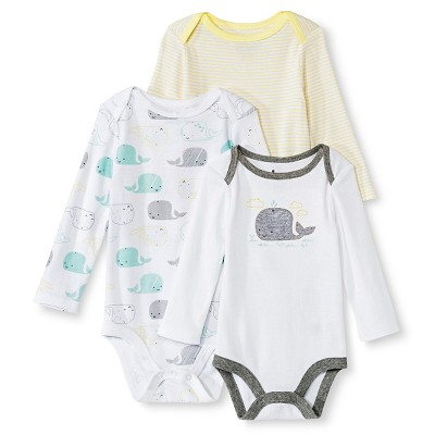 Circo™ Baby 3-Pack Whale Bodysuit - White 6-9 M