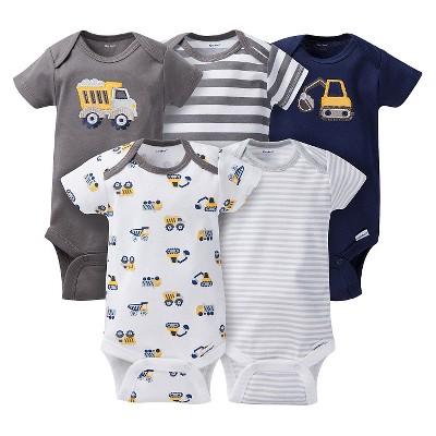 Gerber® Baby Boys' 5pk Striped Truck Onesies® - Grey/Brown 12 M