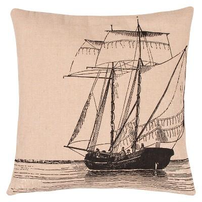 "Boat Throw Pillow Natural & Black (20""x20"") - Jaipur"