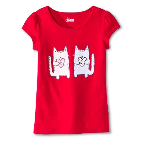 Girls' Cat Graphic Tee Red - Circo