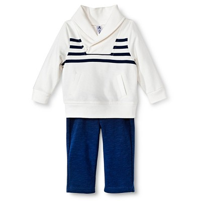 Baby Boys' Striped 2-Piece Pant Set White/Blue 0-3 M - Cherokee®