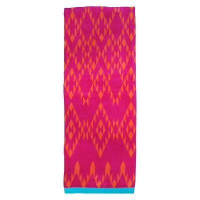 Evergreen Lux Sherpa Stripes Beach Towel - Coral (XL)
