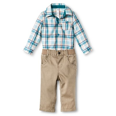 Baby Boys' Plaid 2-Piece Pant Set Blue 3-6 M - Cherokee®