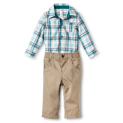 Baby Boys' Plaid 2-Piece Pant Set Blue 6-9 M - Cherokee®