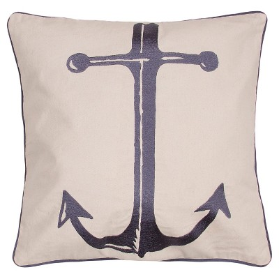 "Coastal Retreat Anchor Throw Pillow Ivory (20""x20"") - Jaipur"