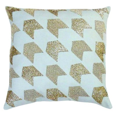 Nate Berkus Silver Beaded Pillow - Light Gray