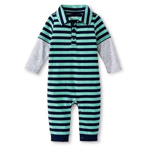 Cherokee Baby Boys 2fer Stripe Coverall Tar