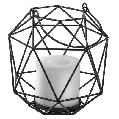 Metal Lantern With Battery Operated Candle Gray - Threshold™