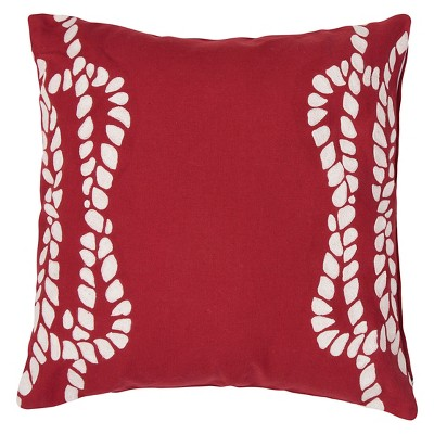 "Coastal Retreat Rope Throw Pillow Red (20""x20"") - Jaipur"
