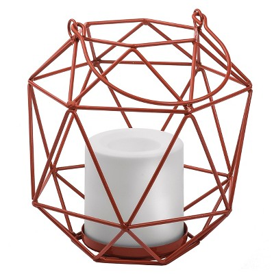 Metal Lantern With Battery Operated Candle Orange  - Threshold™