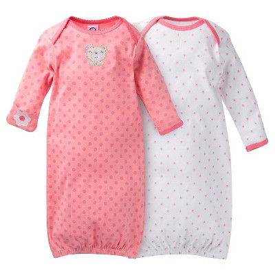 Gerber® Baby Girls' 2-Pack Polka Dots Nightgown - Red 0-6 M