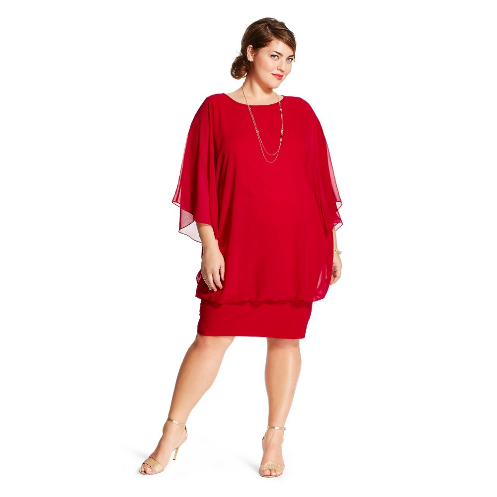 Women's Plus Size Dolman Sleeve Dress Red 3X - chiasso, New Red