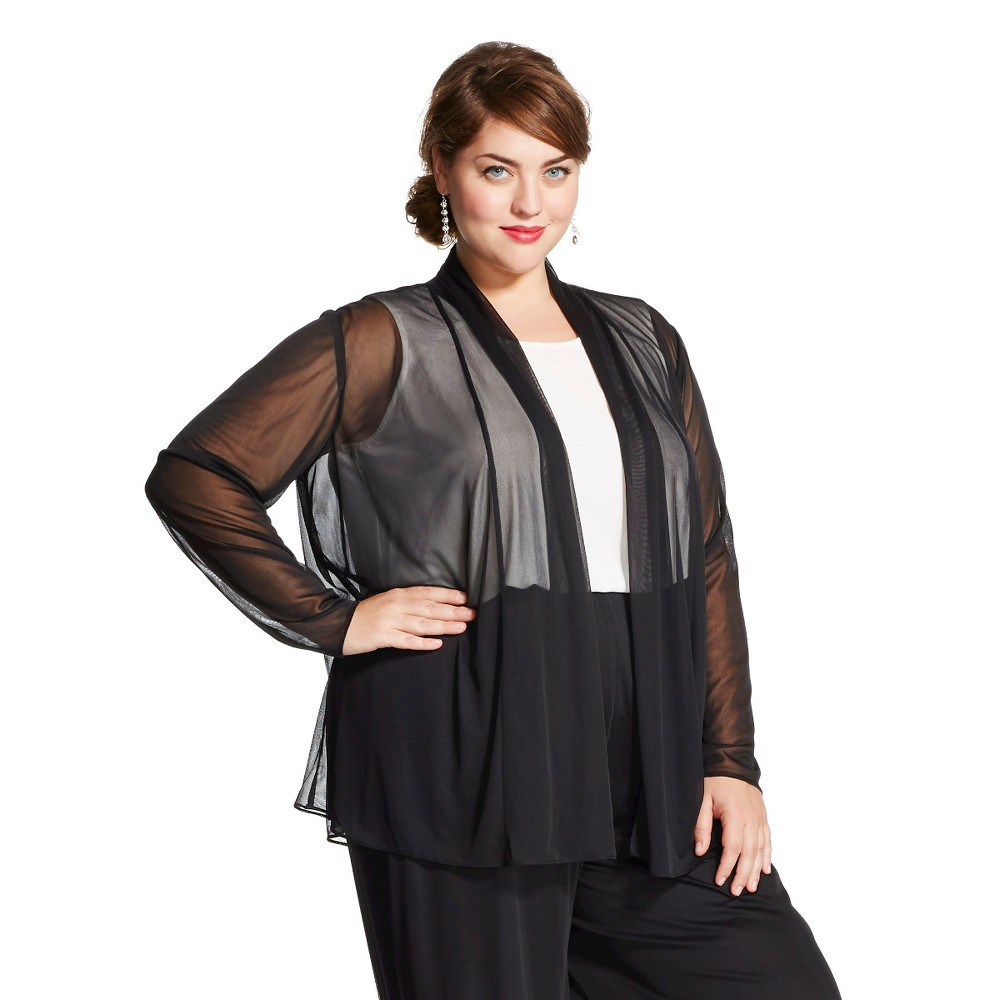 Women's Plus Size Woven Layering Top Black - Chiasso