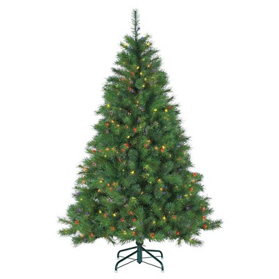 6.5 Ft. Pre-Lit Wisconsin Spruce Christmas Tree- Multi-Color Lights