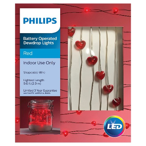 Valentine s Day Philips Red Heart Dew Drop Lights : Target