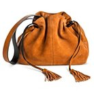 Street Level Women's Drawstring Bucket Handbag with Suede Details and Tassel