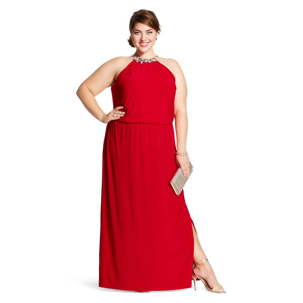 Women's Plus Size Halter Maxi Social Dress Red 1X - chiasso, Apple Red