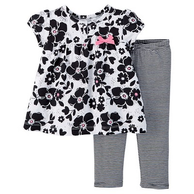 Just One You™ Made by Carter's® Baby Girls' Floral 2-Piece Pant Set - Black 6 M