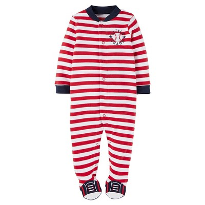 Just One You™ Made by Carter's® Baby Boys' Striped Baseball Sleep N' Play - Red 3M