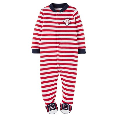 Just One You™ Made by Carter's® Baby Boys' Striped Baseball Sleep N' Play - Red 9M