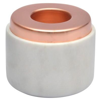 Medium White Marble Tealight Holder - Copper