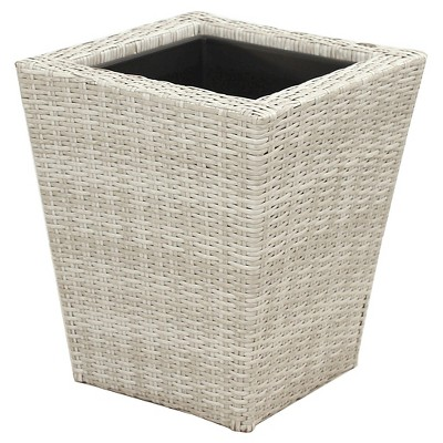 "Threshold™ Wicker Planter - White (21"")"