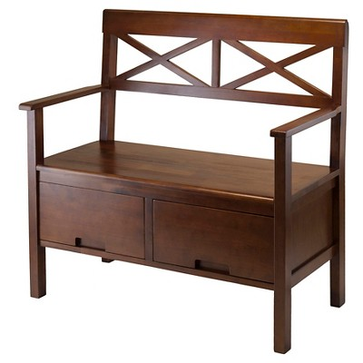 Madelyn Entryway Storage Bench Walnut - Winsome