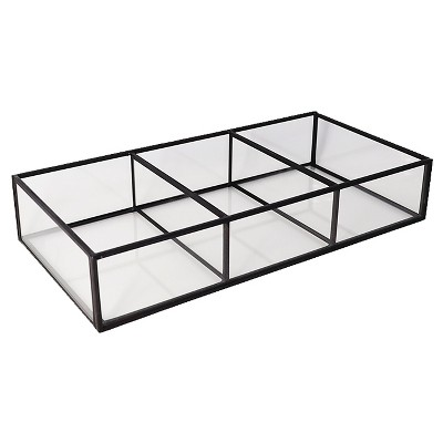 Threshold™ Glass and Metal 3 Compartment Vanity Tray - Pewter