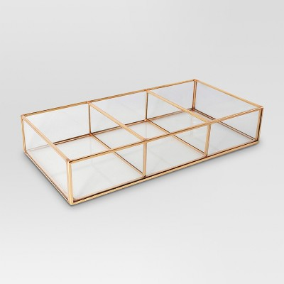 Threshold™ Glass and Metal 3 Compartment Vanity Tray - Copper