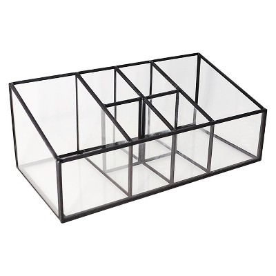 Threshold™ Glass and Metal Incline 6 Compartment Vanity Organizer - Pewter
