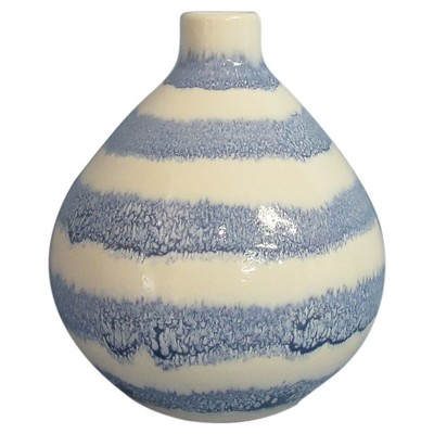 Stoneware Handpainted Blue Stripes Vase - Threshold™