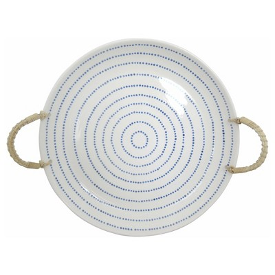 Stoneware Tray with Rope Handle White - Threshold™