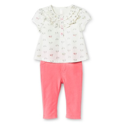 Baby Girls' Scooter 2-Piece Pant Set White/Pink 3-6 M - Cherokee®