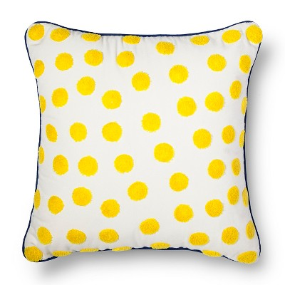 Crewel Embroidery Polka Dot Pillow Yellow - Threshold™