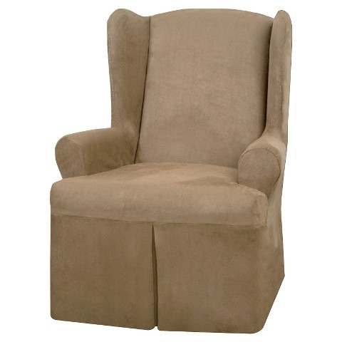 Maytex Faux Suede Slipcover Wing Chair Cover Tar