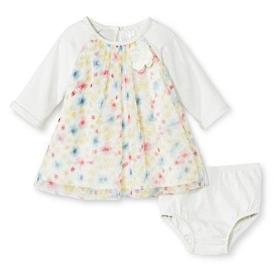 Baby Girls' Floral Empire Dress White 3-6 M - Cherokee®