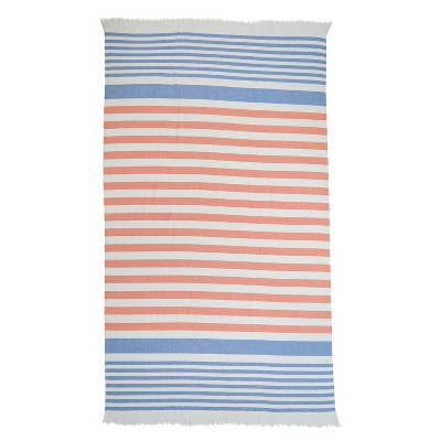 Evergreen Basics Flat Weave Beach Towel - Blue