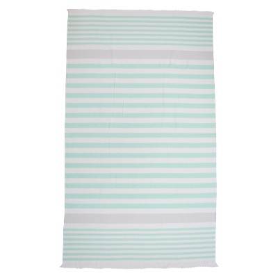 Evergreen Basics Flat Weave Beach Towel - Mint Gray