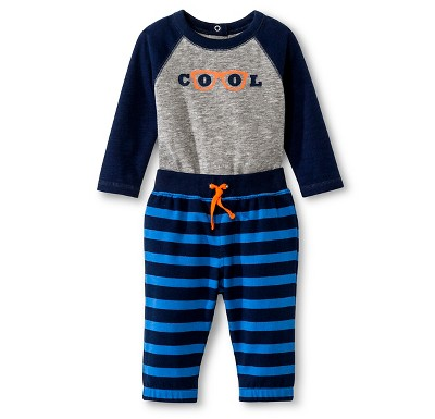 Cherokee® Baby Boys' 2pc Top & Bottom Set - Nighttime Blue/Cool 6-9 M