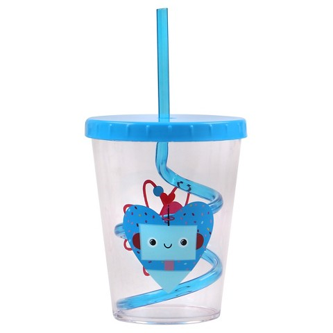 Evergreen Valentine Swirly Straw Cup, Blue