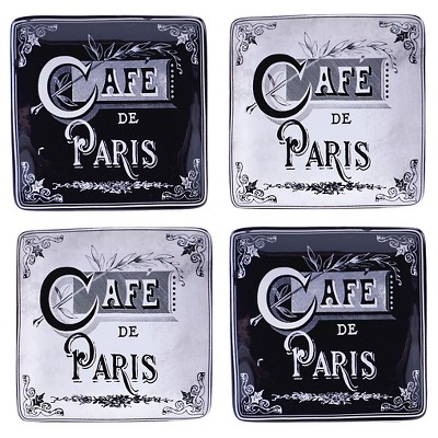 "Certified International Paris Travel Canape Plates Set of 4 (6"")"