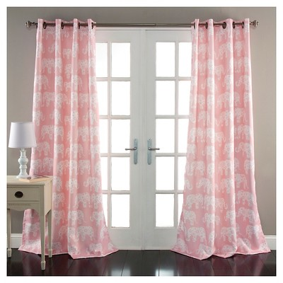 Curtain Panels Pink Elephants