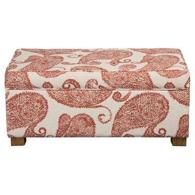 Homepop Henna Collection Storage Bench - Rust Paisley Pattern