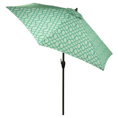 9' Aluminum Push Button Tilt Patio Umbrella - Aqua Trellis - Threshold™