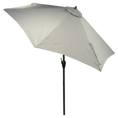 9' Aluminum Push Button Tilt Patio Umbrella - Gray - Threshold™