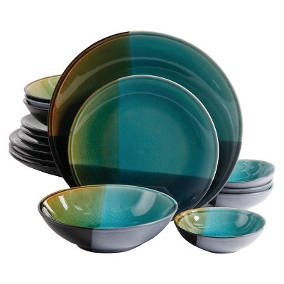 Gibson Elite Quadrangle 16Pc Round Double Bowl Dinnerware Set - Blue Crackle Glaze
